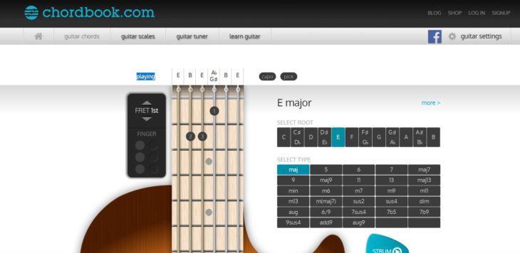 Die besten Webseiten für Gitarre Chordbook