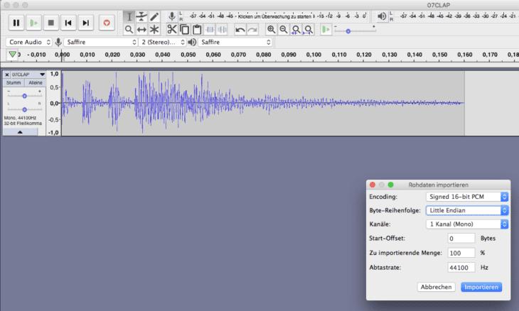 Das Export Format ist 44,1 kHz, 16 Bit PCM Mono, ohne Header