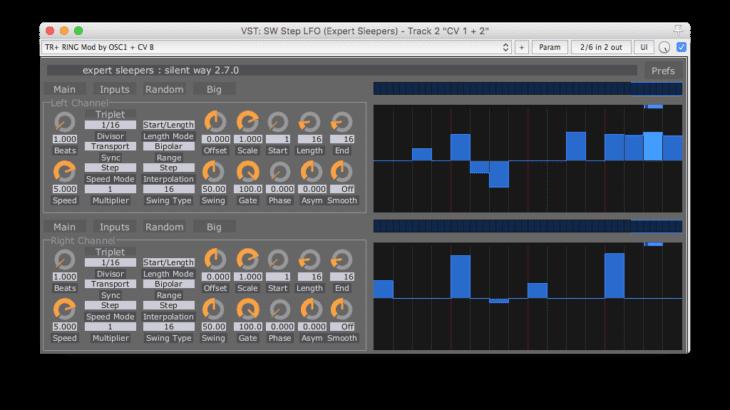 Soundbeispiele: oben das Trigger-Pattern, unten das CV-Pattern für CV1 und CV2