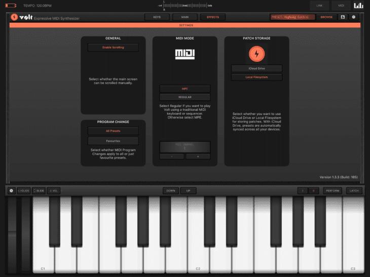 Volt MIDI / MPE Einstellungen