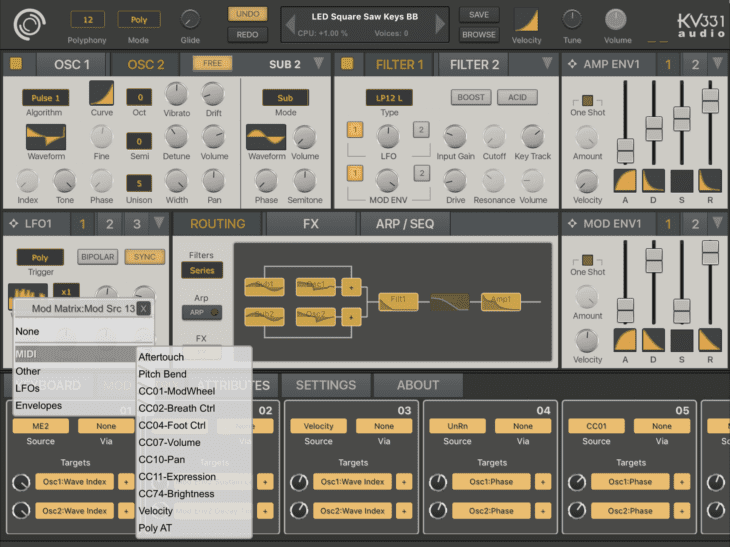 Synthmaster One - ModMatrix