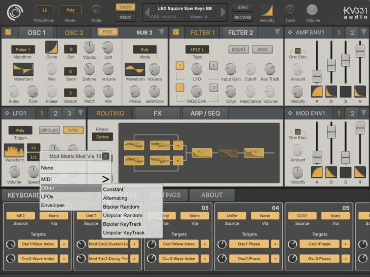 Synthmaster One - ModMatrix - Via
