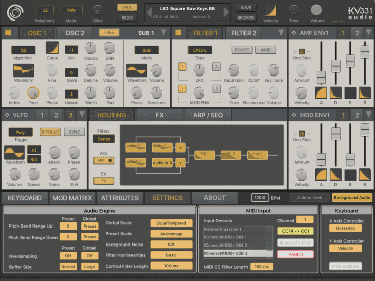 Synthmaster One - Settings