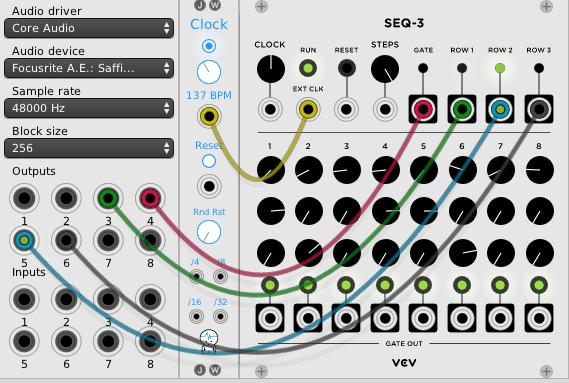 Die Assiml8or Voice wird über einen 3-spurigen Sequencer mit Gate gesteuert
