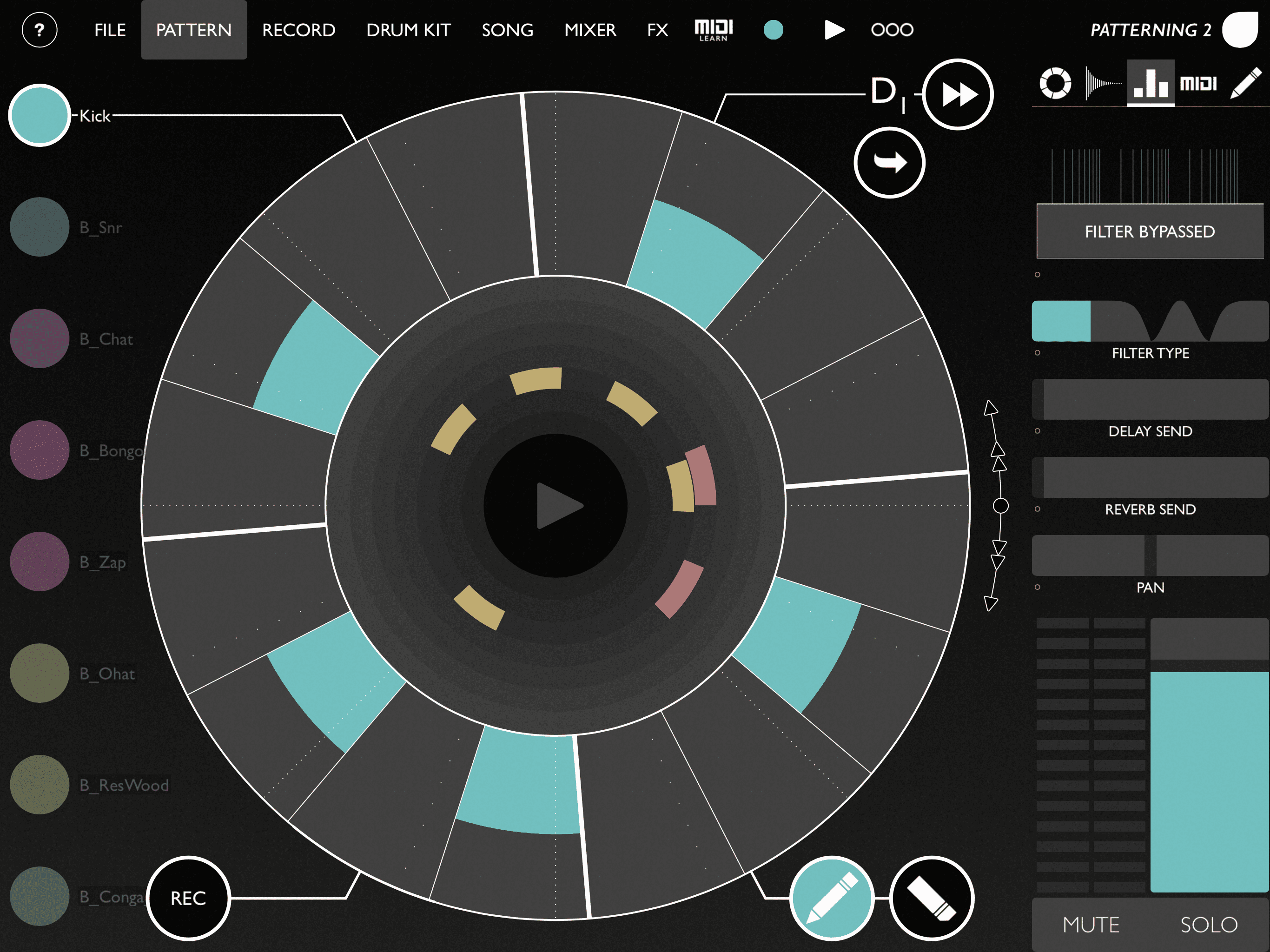 Test: Olympia Noise Patterning 2, Drum-Sequencer, iOS-APP