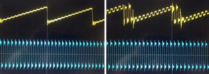 Links klassische FM - rechts Phasenmodulation