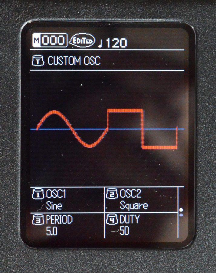 Den Custom OSC kann man sich aus zwei Wellenformen zusammenstellen