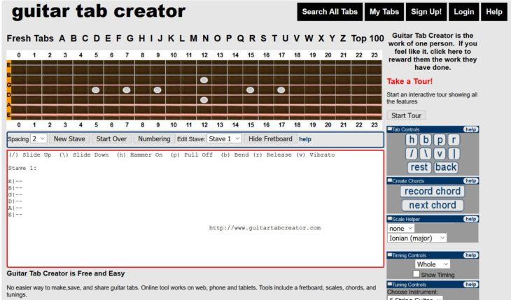 Die besten Webseiten für Gitarre guitar tab creator