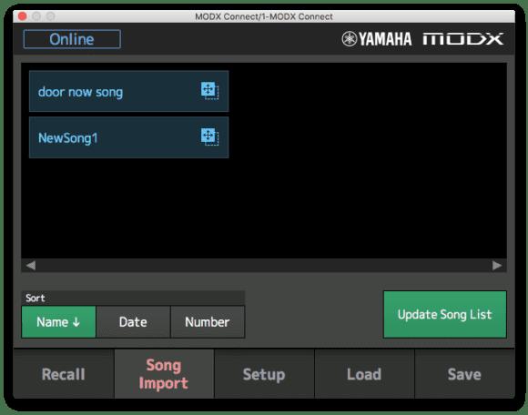 In der Connect-Software werden die Songs angezeigt