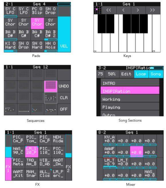 1010music Blackbox Handbuch verschiedene screens