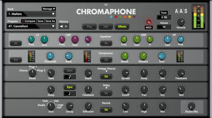 AAS Chromaphone 2 Effekteinstellungen