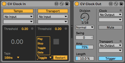 Ableton Live CV Tools - Clock In Options