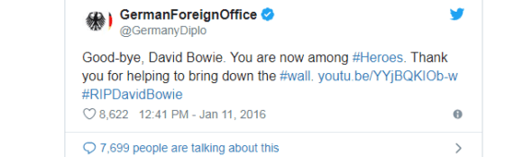 Das auswärtige Amt ehrte Bowie nach seinem Tod in dieser Twitter-Nachricht.