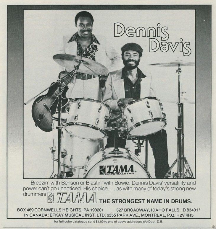 Hier posiert Dennis Davies gemeinsam mit George Benson auf einer Werbung für Tama.