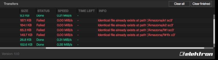 Die Transfer Software erkennt, ob ein bestimmtes Sample schon hochgeladen wurde