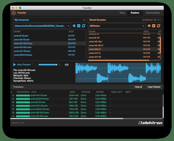 Samples werden immer auf 48kHz, 16Bit Mono gebracht, Stereosamples wird immer der Linke Kanal entnommen