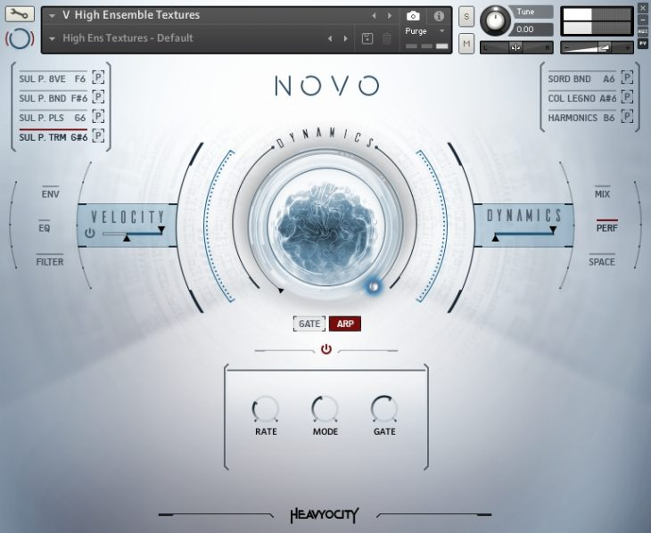 Heavyocity - NOVO Modern Strings PERF Menü