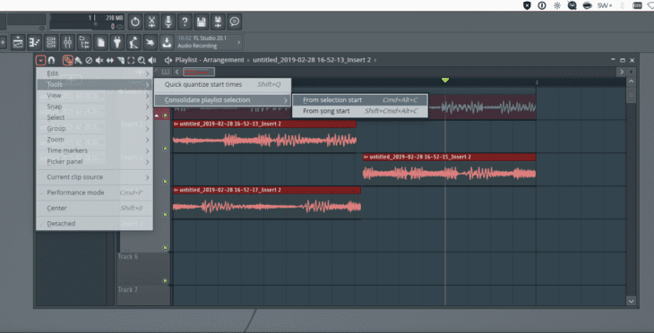 FL Studio 20 Audio Comping 2 Menü