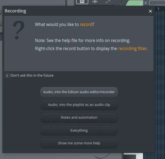 FL Studio 20 Recording-Panel