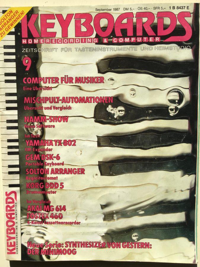 Das Keyboards-Heft vom September 1987 kündigt auf dem Cover die erste Folge von Synthesizer von Gestern an.