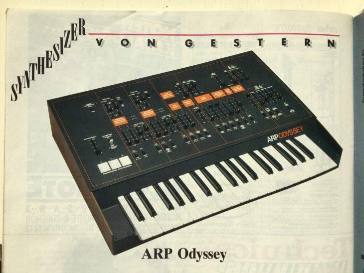 """Der ARP Odyssey wurde in der zweiten """"Synthesizer von Gestern""""-Folge im Dezember 1987 vorgestellt."""