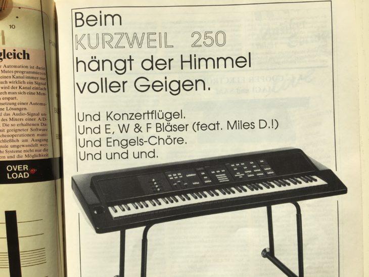 Als der Synthesizer von Gestern-Artikel zum Minimoog erschien, fand sich im Heft diese aufschlussreiche Werbung zum Kurzweil 250. Realistische Streicher- und Flügelklänge elektrisierten damals mehr als analoge Synthesizer.