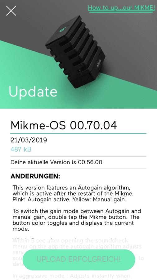 Mikme App Firmware Update