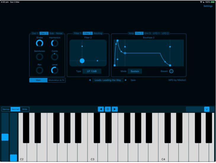 Neuer Phase Distortion Synthesizer von Nikolozi NPD für iOS