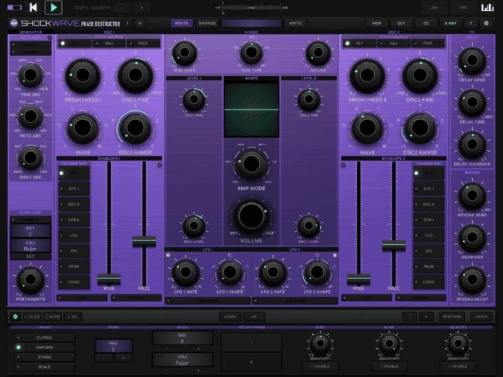 Numerical Audio Shockwave iOS Keyboard-Optionen und X-Ray