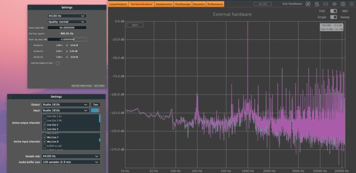 PreSonus Studio 1810c THD+N Line-Balanced -3,6dBFS