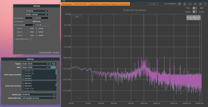 PreSonus Studio 1810c THD+N Line-Balanced -3,7dBFS