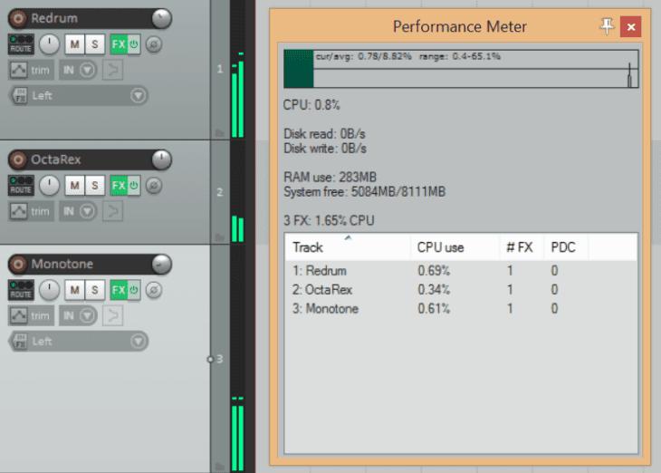 Reason Studios Reason 11 - CPU Verbrauch