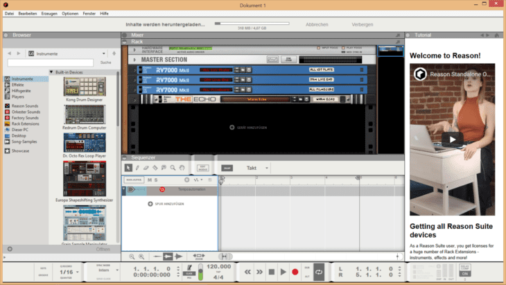Reason Studios Reason 11 - Startbildschirm
