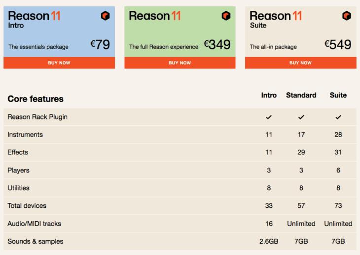 Reason Studios Reason 11 - Versionsvergleich