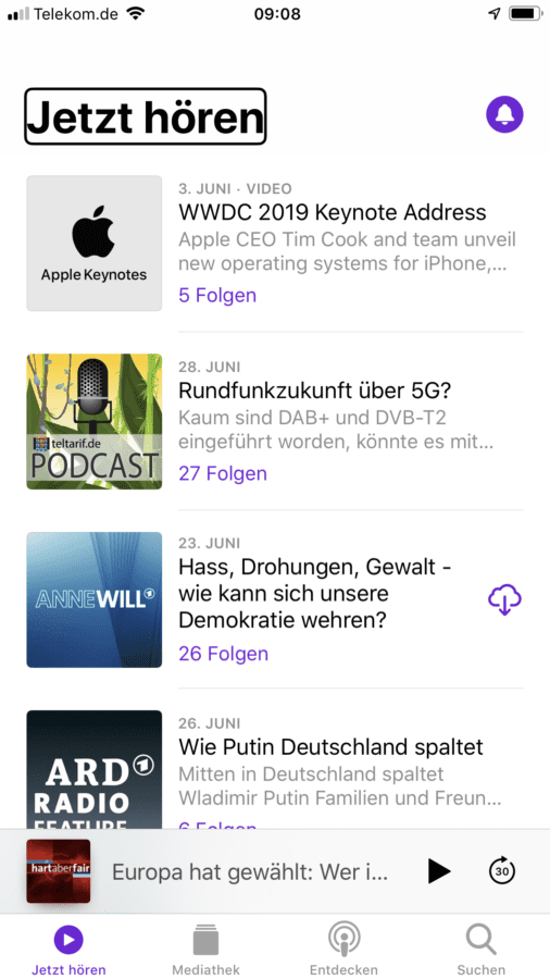 Screenshot Apple Podcast-App
