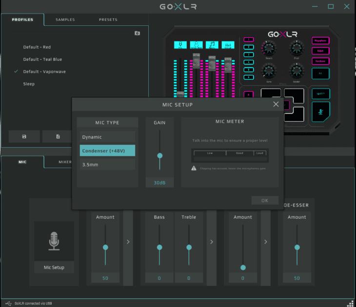 Screenshot GO XLR App Mic Settings
