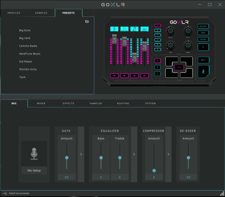 Screenshot GO XLR App Presets
