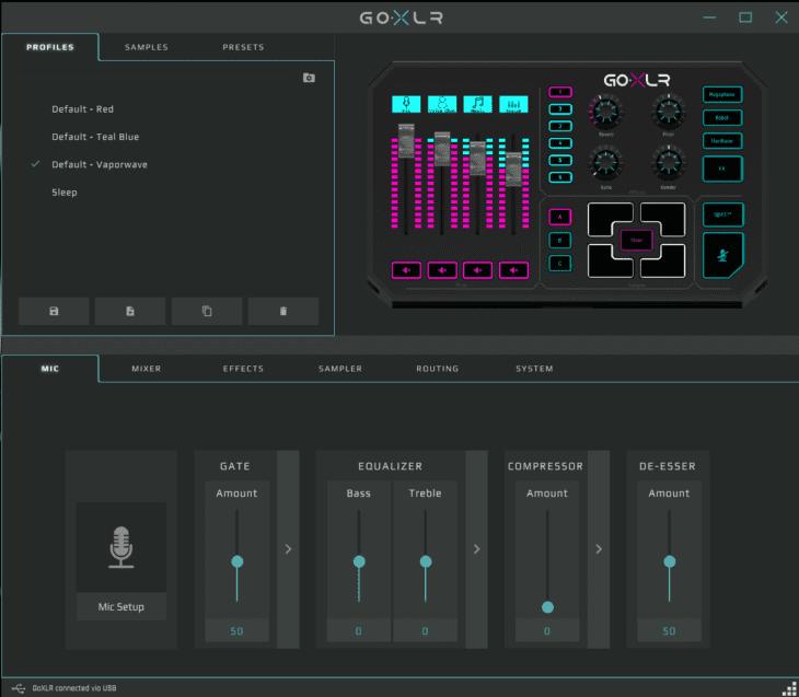 Screenshot GO XLR App Profiles