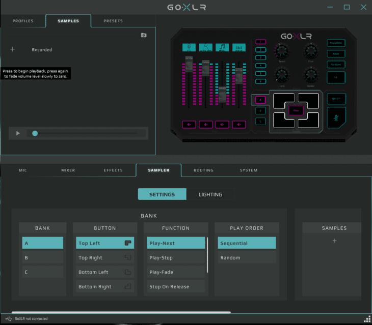Screenshot GO XLR App Sampler
