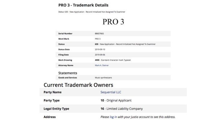 Sequential Pro 3 Trademark