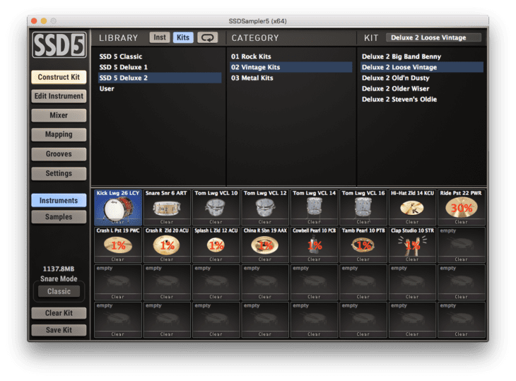 Steven Slate Drums 5 - Kit Auswahl
