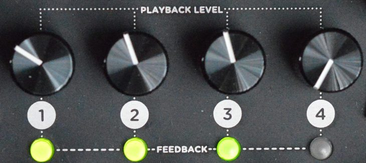 Die Lautsstärke und der Feedback-Status der vier Köpfe können separat bestimmt werden