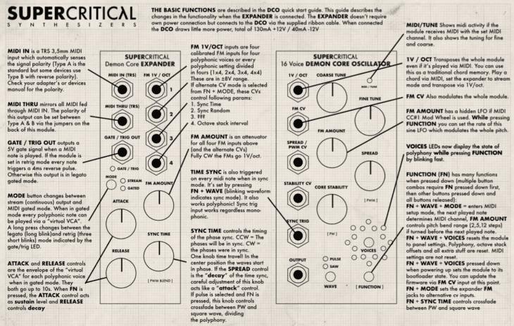 Supercritical Synthesizers Demon Core Oscillator - Anleitung