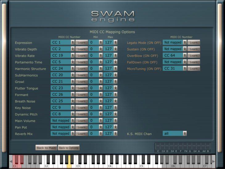 SWAN - MIDI-Optionen