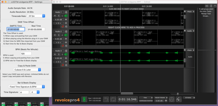 Syncho Arts Revoice Pro 4 Project-Settings