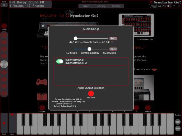 Synclavier Digital Synclavier Go - Audio-Setup
