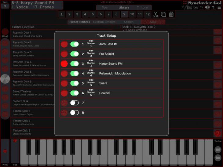 Synclavier Digital Synclavier Go - Track Setup