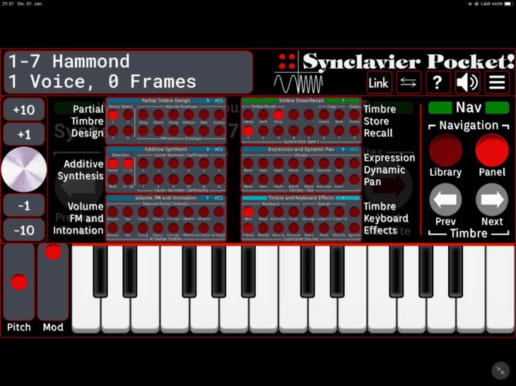 Synclavier Pocket! Panel auswählen