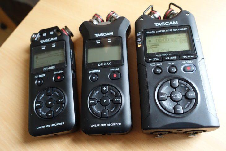 Tascam DR-05X, DR-07X, DR-40X Draufsicht