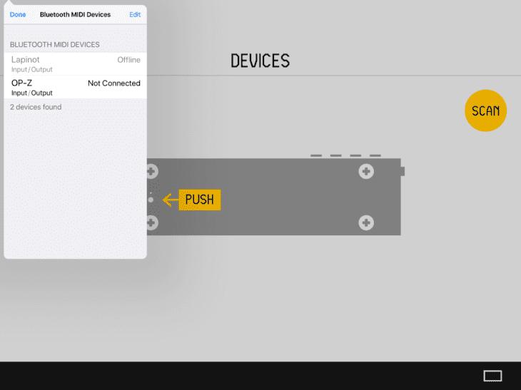OP-Z iOS App BTLE-Verbindung